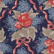 Moda - Grant Park - 3046 - Red/Blue Floral on Dark Blue Background - 14770-16 - Cotton Fabric
